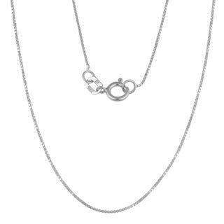 "Fremada 10k White Gold 0.6-mm Box Chain (16""-24"") (Option: 24 Inch)