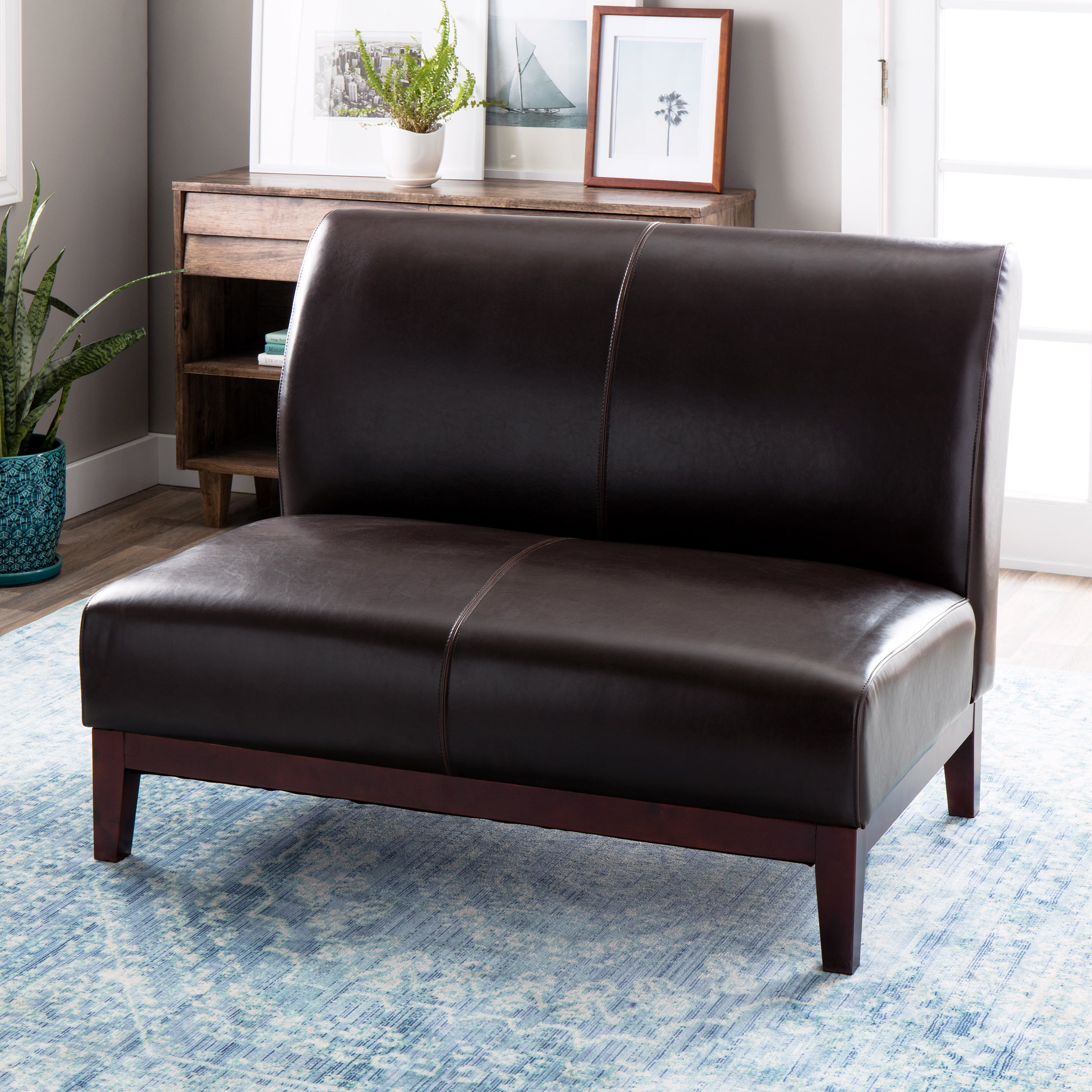 Shop Black Friday Deals On Cole Dark Brown Leather Loveseat Overstock 3261778