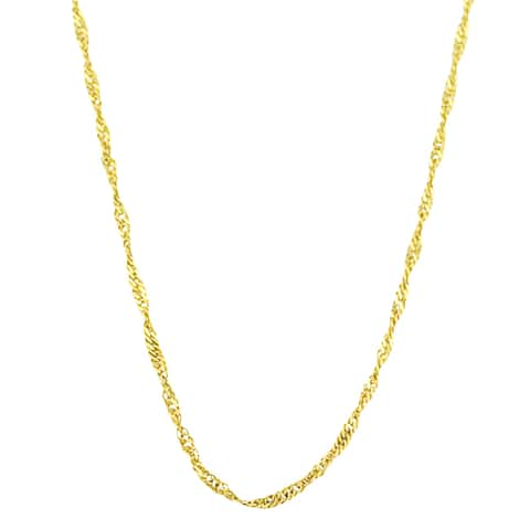 Fremada 10k Yellow Gold Singapore Chain Necklace (18-24 inches)