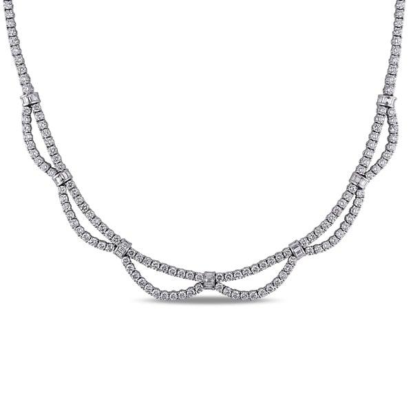 Miadora Signature Collection 18k White Gold 16 1/5ct TDW Diamond Necklace