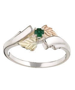 Black Hills Gold and Silver Synthetic Emerald Ring