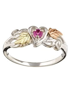 Black Hills Gold and Silver Pink Topaz Heart Ring