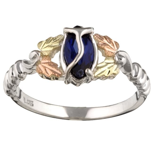 Black Hills Gold and Sterling Silver Created Sapphire Ring