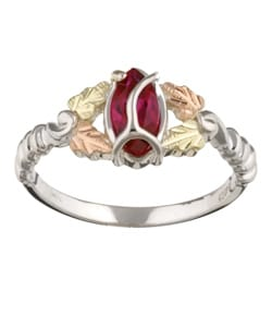 Black Hills Gold and Sterling Silver Created Ruby Ring