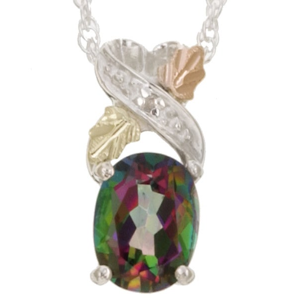 Black Hills Gold and Silver Mystic Fire Topaz Necklace