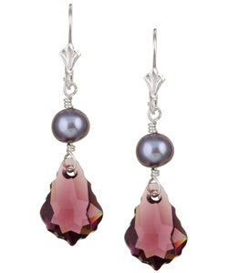 Charming Life Sterling Silver Amethyst Baroque Crystal and Pearl Earrings (7 mm)