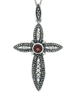 Glitzy Rocks Sterling Silver Garnet and Marcasite Cross Necklace