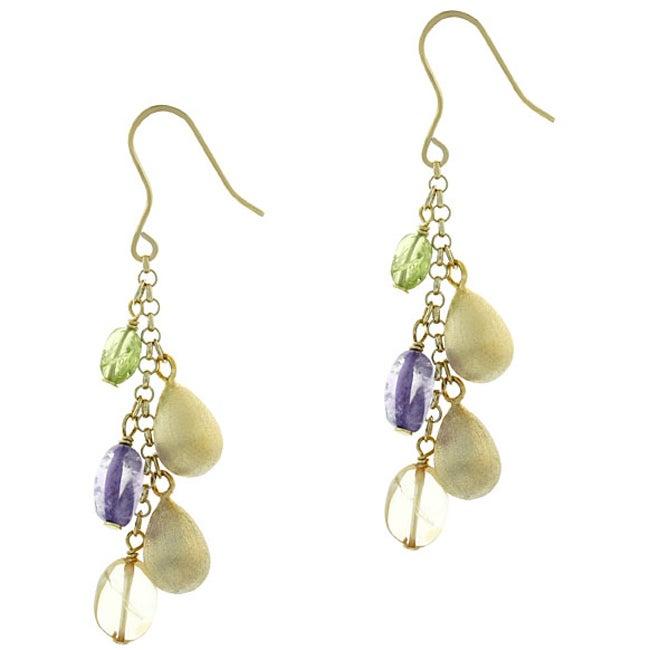 Glitzy Rocks 18k Gold Overlay Multi Gemstone Dangle Earrings