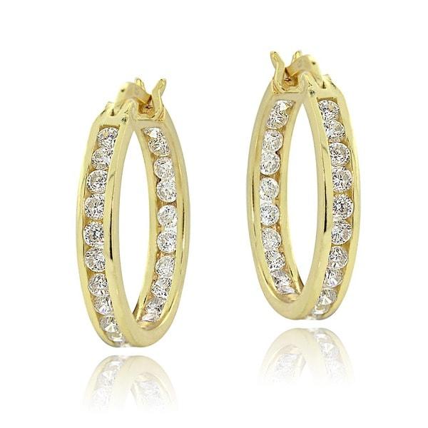 Icz Stonez 18k Yellow Gold Overlay Cubic Zirconia Hoop Earrings