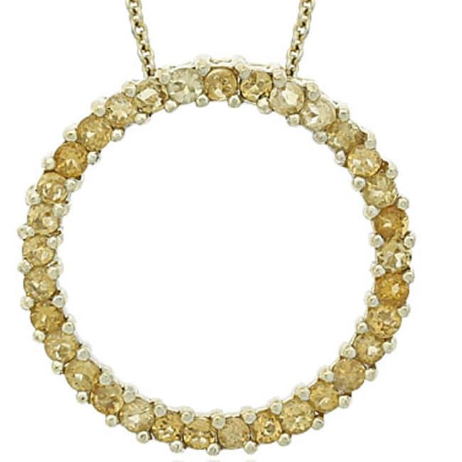 Glitzy Rocks 18k Gold Overlay Citrine Circle Necklace