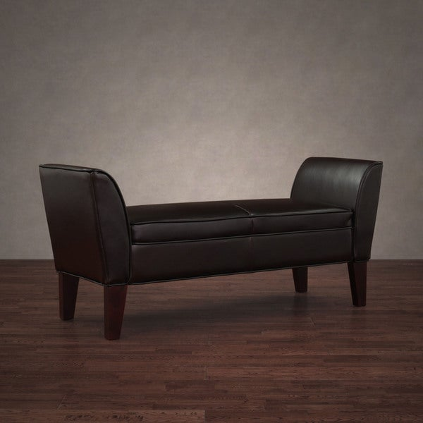 Drake Dark Brown Leather Bench with Arms