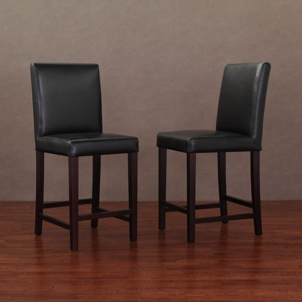 Shop Andre Black Leather Counter Stools Set Of 2 Free