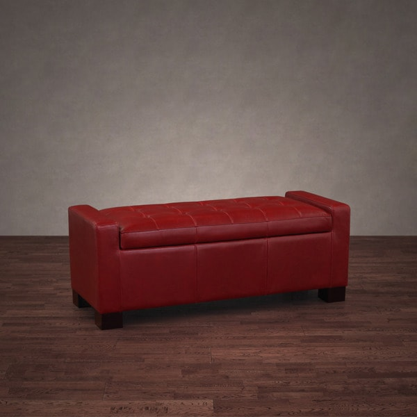 Tufted Burnt Red Leather Storage Bench Free Shipping Today 11372462