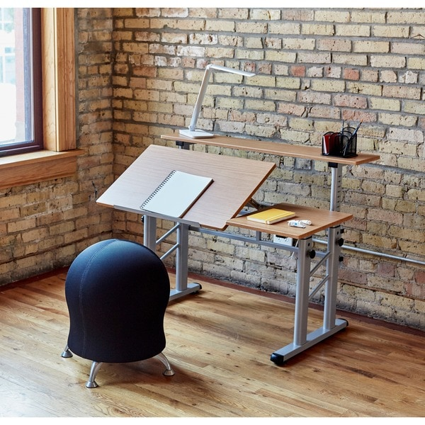 Safco Height Adjustable Split Level Office Desk/ Drafting Table   Free  Shipping Today   Overstock.com   11372535