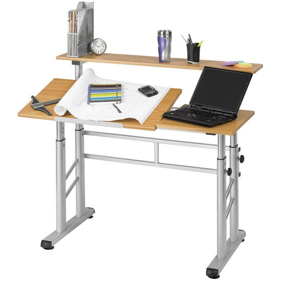 Safco Height Adjustable Split Level Office Desk Drafting