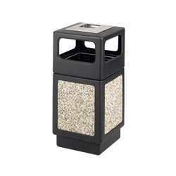 Safco Canmeleon 38-gallon Black/ Ivory Outdoor Waste Receptacle