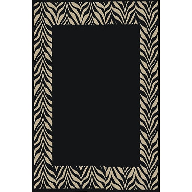 Zebra Black/ IvoryTransitional Rug (5'3 x 7'3)