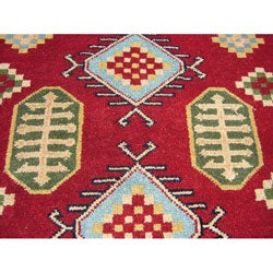 Indo Kazak Hand-knotted Red/ Ivory Rug (5' x 7')
