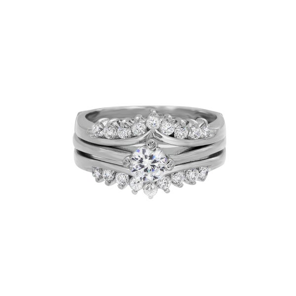 Sterling Essentials Sterling Silver CZ Two piece Engagement Ring Free Shipp
