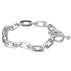 Sterling Essentials Sterling Silver 7.5-inch Oval Link Charm Bracelet