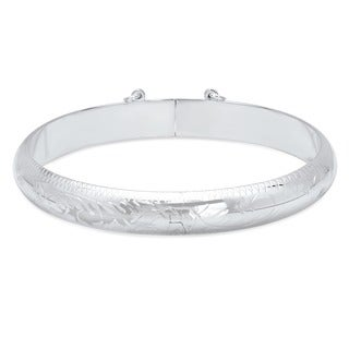 Sterling Silver 7-inch Engraved Bangle (9mm)