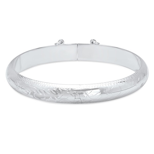 Roberto Martinez Sterling Silver 7 Inch Engraved Bangle 9mm