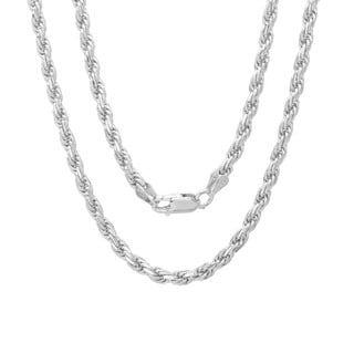 Roberto Martinez Sterling Silver 24-inch Diamond-Cut Rope Chain (2.5mm)