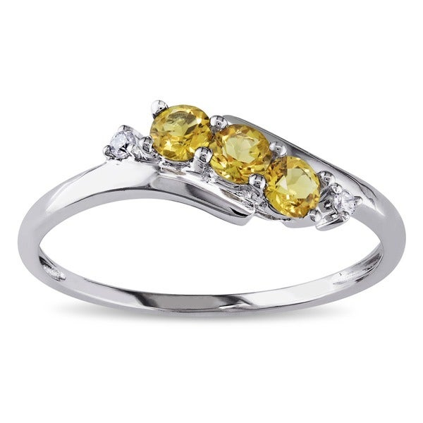 Miadora 10k White Gold Citrine and Diamond Curved Ring