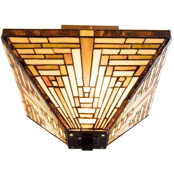 Tiffany Style Frank Lloyd Wright Mission Ceiling Lamp