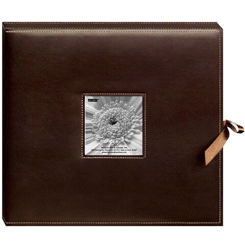 Pioneer Sewn Leatherette Frame Cover 3-ring Brown Scrapbook Box with Ribbon Closure