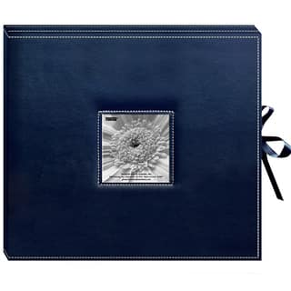Pioneer Sewn Leatherette Frame Cover 3-ring Navy Blue Scrapbook Box with Ribbon Closure|https://ak1.ostkcdn.com/images/products/3274906/P11378925.jpg?impolicy=medium