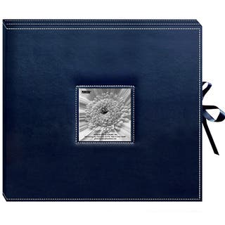 Pioneer Sewn Leatherette Frame Cover 3-ring Navy Blue Scrapbook Box with Ribbon Closure