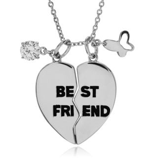 Journee Collection Sterling Silver 2-piece 'Best Friend' Necklace