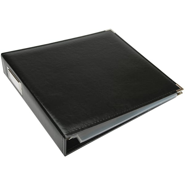 "Shop Black Faux Leather 12"" X 12"" Three-Ring Binder"