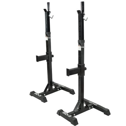 Valor Fitness BD-3 Independent Bench Press and Squat Rack Stands with Adjustable Uprights and Safety Catches - Black