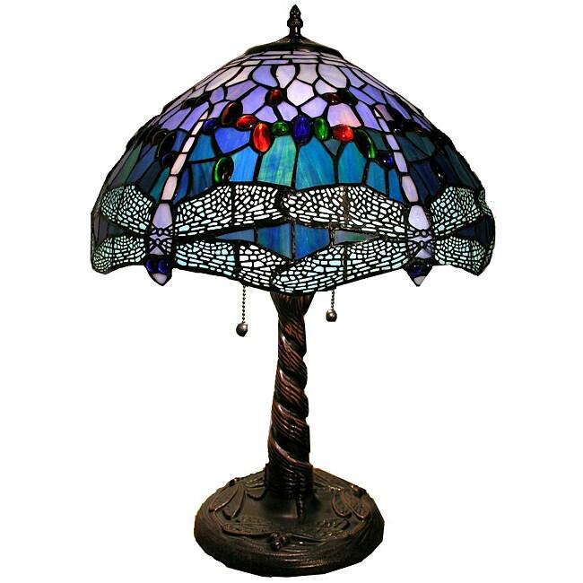 Warehouse of Tiffany Tiffany-style Dragonfly Lamp, Blue (...