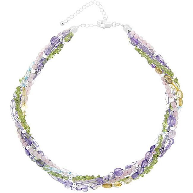 Glitzy Sterling Silver Gemstone Twisted Torsade Necklace ...