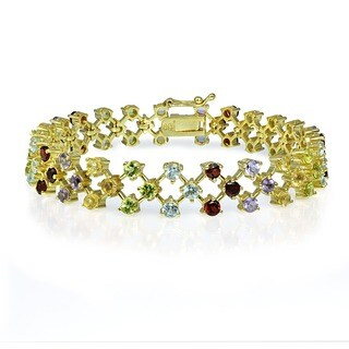Glitzy Rocks 18k Gold over Sterling Silver Gemstone Bracelet