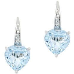 Glitzy Rocks Sterling Silver Blue Topaz and Diamond Accent Heart Earrings