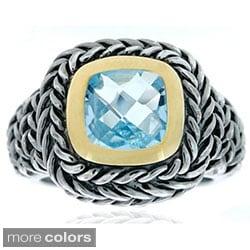 Glitzy Rocks Sterling Silver Gemstone Rope Design Ring