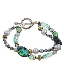 Charming Life Silver Paua Shell and Pearl Double-strand Bracelet (4-9 mm)