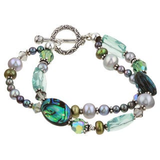 Lola's Jewelry Silver Paua Shell and Pearl Double-strand Bracelet (4-9 mm)