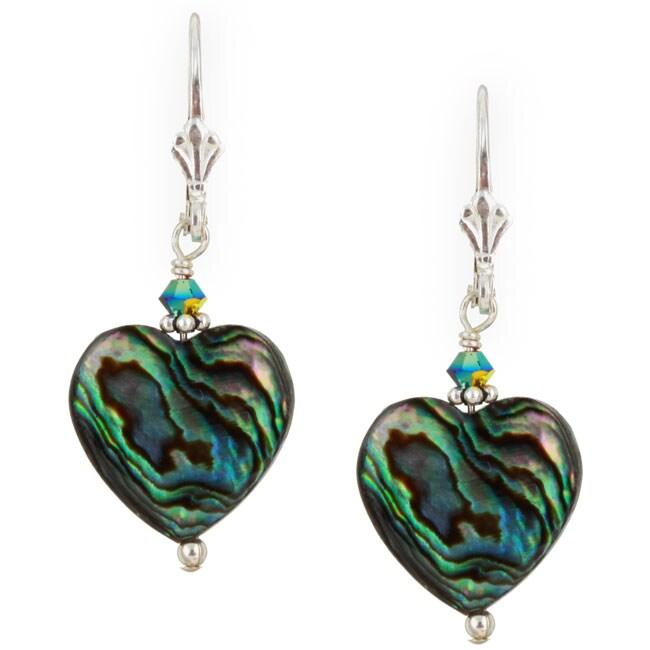 Lola's Jewelry Sterling Silver Paua Abalone Shell Heart Earrings