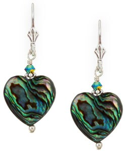Lola's Jewelry Sterling Silver Paua Abalone Shell Heart Earrings