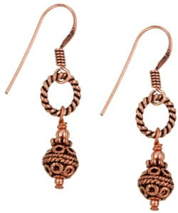 Lola's Jewelry Copper Balinese-style Bead Earrings