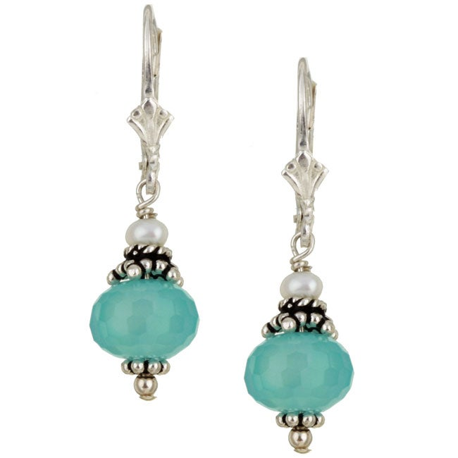 Lola's Jewelry Silver Chalcedony Quartz and Pearl Drop Earrings