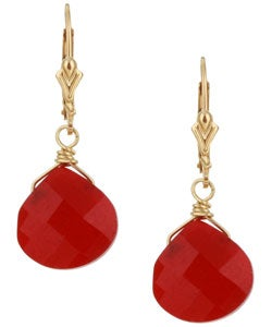 Lola's Jewelry 14k Goldfill Red Jade Briolette Earrings