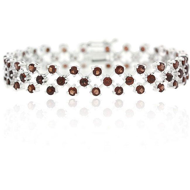 Glitzy Rocks Sterling Silver Garnet Tennis Bracelet