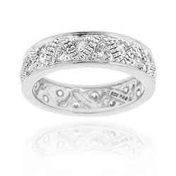 Icz Stonez Sterling Silver Pave Set CZ Eternity Band