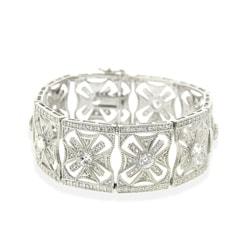 Icz Stonez Sterling Silver Deco Star Cubic Zirconia Bracelet - Thumbnail 0